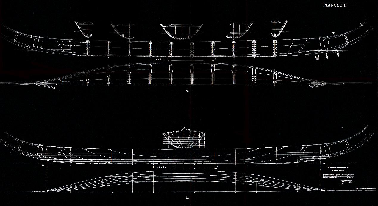 Hjortspringbåden som tegnet af Fr. Johannessen i 1936.