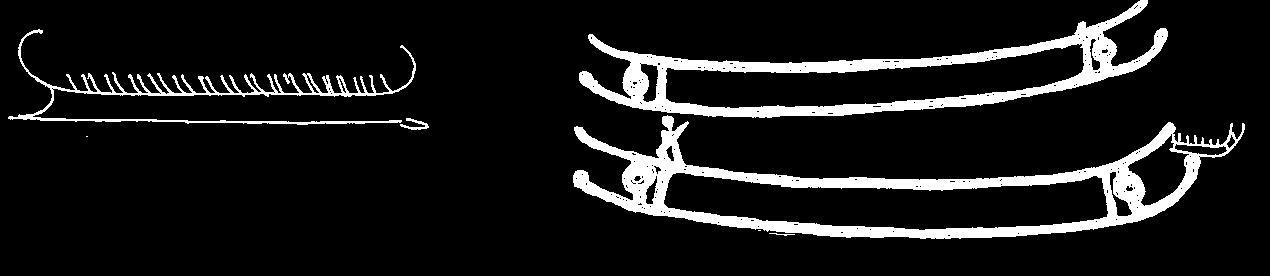 Rørbyskibet, en bronzeristning fra 1600 f.Kr. og Litslebyhelleristningen fra 400 f.Kr.